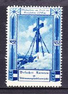 Vignette Werbemarke, Glocknerkreuz Am Gipfel Grossglockner, Kaernten 1930 (49002) - Vignetten (Erinnophilie)
