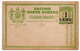 BRITISH NORTH BORNEO - POSTAL STATIONERY/ENTIER OVERPRINT 1 C./8 C. - 1892 - Borneo Del Nord (...-1963)