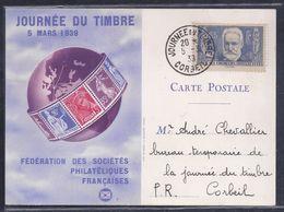 Carte Federale Journee Du Timbre 1939 Corbeil Victor Hugo - Lettres & Documents