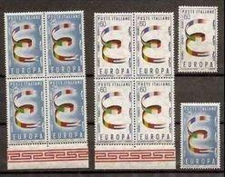 1957 Italia Repubblica EUROPA CEPT EUROPE 5 Serie Di 2v. MNH** Quartina + 1 SOGGETTI DIVERSI - Europa-CEPT