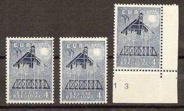 1957 Belgio Belgium EUROPA CEPT EUROPE 3 Valori 4f Azzurro MNH** SOGGETTI DIVERSI - Europa-CEPT
