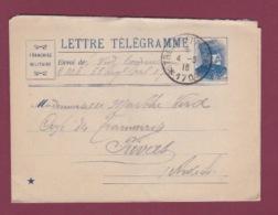 300318 GUERRE 14/18 - FM MILITARIA 1916 LETTRE TELEGRAMME Bleue TRESOR ET POSTES 170 - Storia Postale