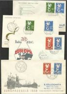 1958 Europa CEPT EUROPE 8 FDC: Belgio, Italia, Germania, Lussemburgo, Francia, Olanda, Saar - Europa-CEPT