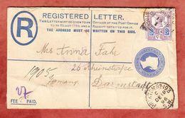 Einschreibeumschlag EU 19 A Koenigin Viktoria + ZF, Brixton Nach Darmstadt 1896 (49014) - Briefe U. Dokumente
