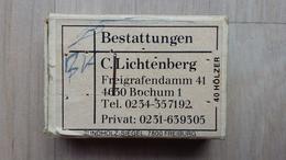 Zündholzschachtel Mit Werbung Für Ein Bestattungsunternehmen (Bochum; Deutschland) - Zündholzschachteln