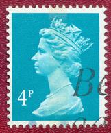 Great Britain GB 1971 - 1996 4p Green-blue Machin Used - Machin-Ausgaben