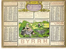CALENDRIER ORIGINAL 1926  BYRRH VIN GENEREUX   QUINQUINA  CAFE PRIMA  -  FEUILLET DPT 32 - Calendars