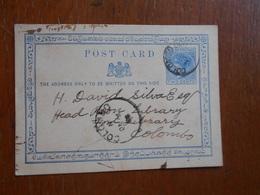 Entier Postal Envoyé De Et Vers Colombo Sri Lanka Ceylon 1894. - Sri Lanka (Ceylon)