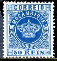 !! Mozambique 1881 AF#14* Crown 50 Réis Blue 12.5 (x0966) - Mozambique
