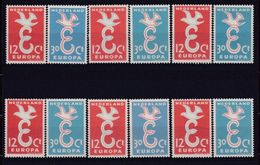 1958 Olanda Holland Nederland EUROPA CEPT EUROPE 6 Serie Di 2v. MNH** - Europa-CEPT