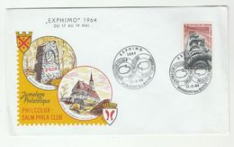 1964 LUXEMBOURG EXPHIMO EVENT COVER Mondorf Les Bains DR KLEIN ST GENGOUX CHURCH  HYDRO ELECTRICITY  Energy Religion - Luxembourg