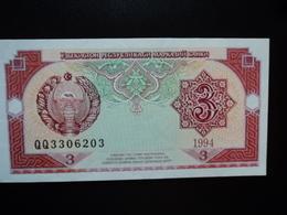 OUZBÉKISTAN : 3 SOM   1994  P 74     NEUF - Ouzbékistan