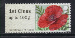 GB 2015 QE2 1st Class Up To 100gms Post & Go Common Poppy (R856) - Great Britain