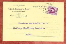 Karte, EF Koenig Albert, Haine-St-Pierre Nach Liege 1923 (49025) - Belgien