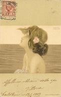 Illustration Raphaël Kirchner - Jeune Femme De Profil Avec Rose - Druck, Max Herzig & Co. Wien - Carte Dos Simple - Kirchner, Raphael