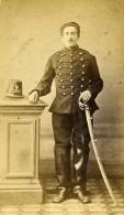 France Militaire Soldat Sabre Casque Ancienne CDV Photo Anonyme 1870 - Photographs