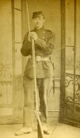 France Militaire Soldat Baïonnette Ancienne CDV Photo Anonyme 1870 - Photographs