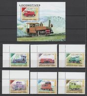Afghanistan 1999 Mi 1849-1854 + Block 108(1855) Locomotives / Lokomotiven **/MNH - Trains