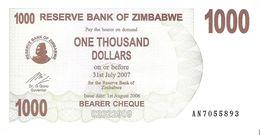 Zimbabwe - Pick 44 - 1000 Dollars 2006 - Unc - Zimbabwe