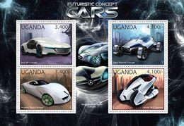 UGANDA 2012 - Concept Cars: Audi, Lotus, Peugeot, Honda - YT 2426-9, Mi 2911-4 - Autos