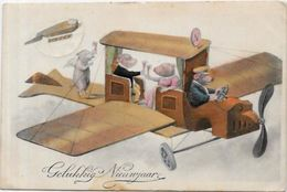 CPA Cochon Pig Position Humaine Circulé Aviation Zeppelin Champagne - Pigs