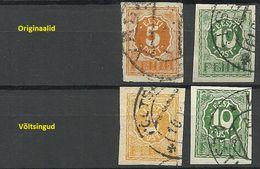 Estonia Estland 1920 Michel 6 & 8 Original + Fälschung/Fake/Faux For Study - Estonie
