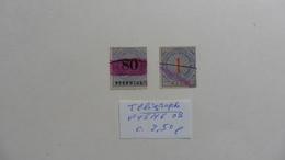 Allemagne :Reich :Télégraphe :  2 Timbres N° 15 Et 16 Oblitérés - Gebraucht