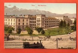 GBR-40  Thun Die Kasernen, Mit Loko Und Bahnhof. Gelaufen In 1910. - BE Berne