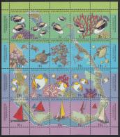 Cocos (Keeling) Islands 1994 MNH Scott #292f Sheet Of 20 4 Strips Of 5 Map, Fish, Boats, Turtle - Cocos (Keeling) Islands