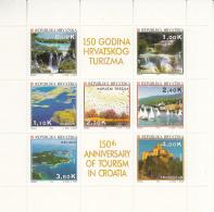 Croatia 1994 MNH Scott #202a Sheet Of 7 Plus Labels Tourism Sites Waterfalls, Castle - Croatie
