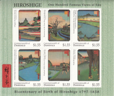 Dominica 1997 MNH Scott #1951 Sheet Of 6 $1.55 Paintings By Hiroshige - Dominique (1978-...)