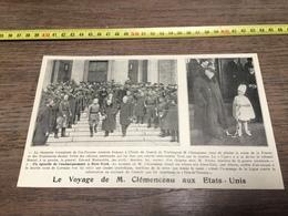 AN 20/30 VOYAGE DE MR CLEMENCEAU AUX USA - Alte Papiere