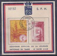 Bloc Souvenir Journée Du Timbre 1939 Le Havre Anniversaire Armistice Vignette - Lettres & Documents