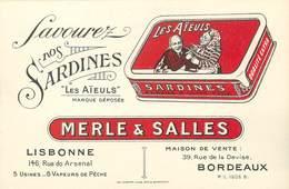 """/ CPA FRANCE 33 """"Bordeaux, Merle Et Salles"""" / SARDINES / CARTE PUBLICITAIRE - Bordeaux"""
