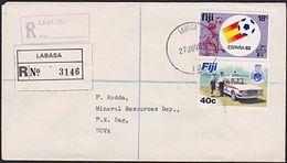 FIJI 1983 Registered Cover LABASA & LEKUTU, 18c World Football Cup Etc.....5916 - Fiji (1970-...)