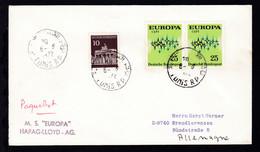 "OSt. Tunis 6.6.1972 + L2 M.S. ""EUROPA"" HAPAG-LLOYD-AG Auf Brief - Non Classés"