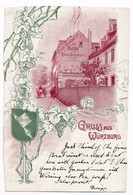 Gruß Aus Würzburg - Undivided Back, Postally Used In 1907, Message. - Wuerzburg