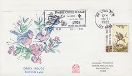 Enveloppe   FDC  Flamme   1er   Jour    FRANCE  CROIX  ROUGE  LYON    1989 - FDC