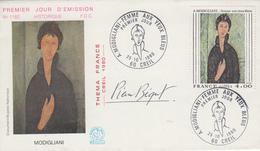 Enveloppe  FDC  1er  Jour   FRANCE   Oeuvre  De   MODIGLIANI    CREIL   1980 - FDC