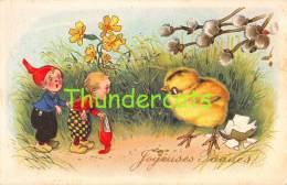 CPA ILLUSTRATEUR FRITZ BAUMGARTEN LUTIN NAIN PAQUES GNOME DWARF EASTER - Baumgarten, F.