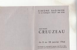 PEINTURE VERNISSAGE SIMONE BADINIER 1964 PARIS RUE GUENEGAUD PAYSAGE DE SEINE ET OISE - Faire-part