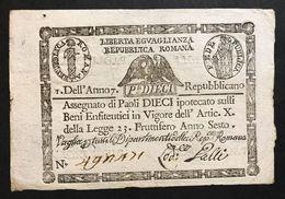 1à Repubblica Romana Assegnati 1798 10 Paoli ( Quadrato ) Dell'anno 7  Q.spl Lotto.563 - [ 1] …-1946 : Royaume
