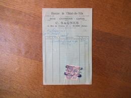 CLICHY SEINE C. SAGNES BOIS CHARBONS CHANTIER DE L'HÔTEL DE VILLE 22 RUE DE L'UNION FACTURE DU 3 AVRIL 1931 TIMBRE FISCA - France