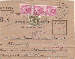 TAXE X3 +1  Sur SERVICE RECOUVREMENTS  OBLI  LA COTE (HEXAGONAL) HAUTE SAONE - 1877-1920: Semi Modern Period