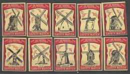 Belgium  10 Old Matchbox Labels - Boites D'allumettes - Etiquettes