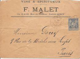 SAGE  Sur ENV  OBLI  PARIS 56  R. DE CHARENTON - Marcophilie (Lettres)