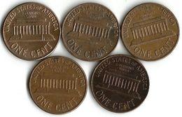 Lot De 5 Pièces De Monnaie 1 Cent - Vereinigte Staaten