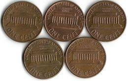 Lot De 5 Pièces De Monnaie 1 Cent - Etats-Unis
