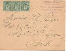 SAGE X3 Sur  ENV   OBLI   L'ISLE-ADAM - Marcophilie (Lettres)