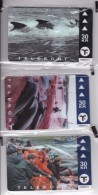 Faroe Islands, OD-030 - 32, Set Of 3 Cards, Pilot Whales, Mint In Blister, 2 Scans. - Faroe Islands